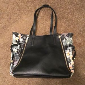 Tote bag- black and floral